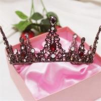 Charm Lady Girls Pageant Wedding Red Crystal Big Tiaras And Crowns Bridal Rhinestone Round Tiaras Crown Vintage Hair Jewelry