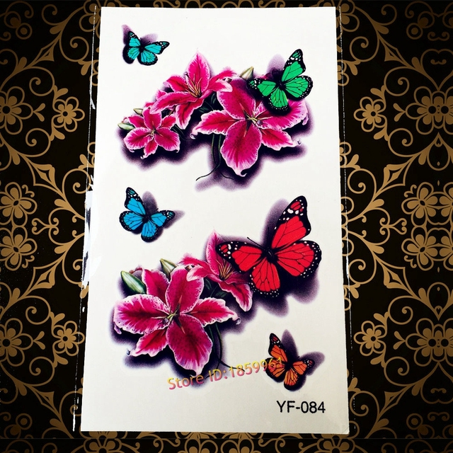 Hot Colorful Flash 3D Tattoo Sexy Women Body Art Makeup Decals YF084 Flower Flying Butterfly Waterproof Temporary Tattoo Sticker