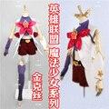 Lol star guardião jinx cosplay traje do ano novo dress uniforme halloween xmas outfit shirt + calças + luvas + cinto + meias s-xl