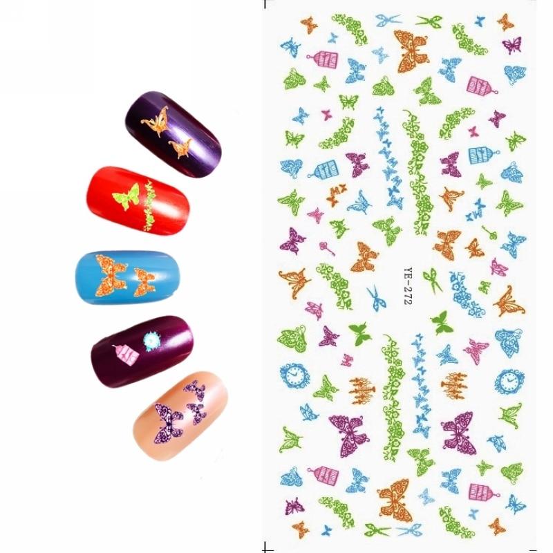 Water Transfer Decal Nail Art Sticker Cartoon Vlinder Vogelkooi