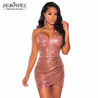 2016 Backless Summer Sexy Sequin Women Short Party Dress Sleeveless Micro Mini Bodycon Dress Tight Deep