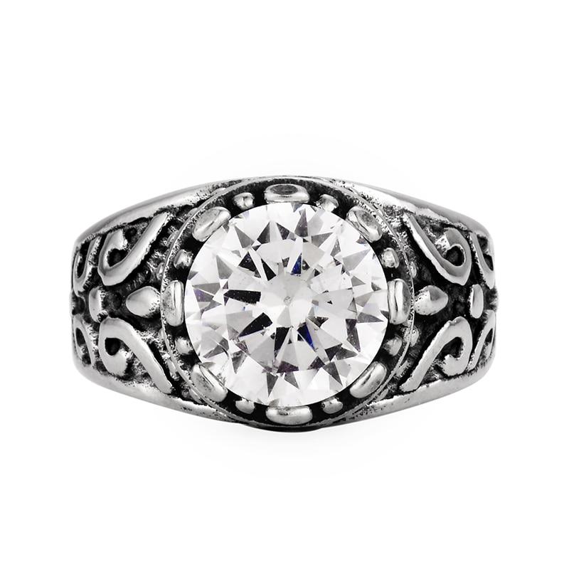 Fashion Prong Setting Crystal Punk Ring For Men 316L Geometric ...