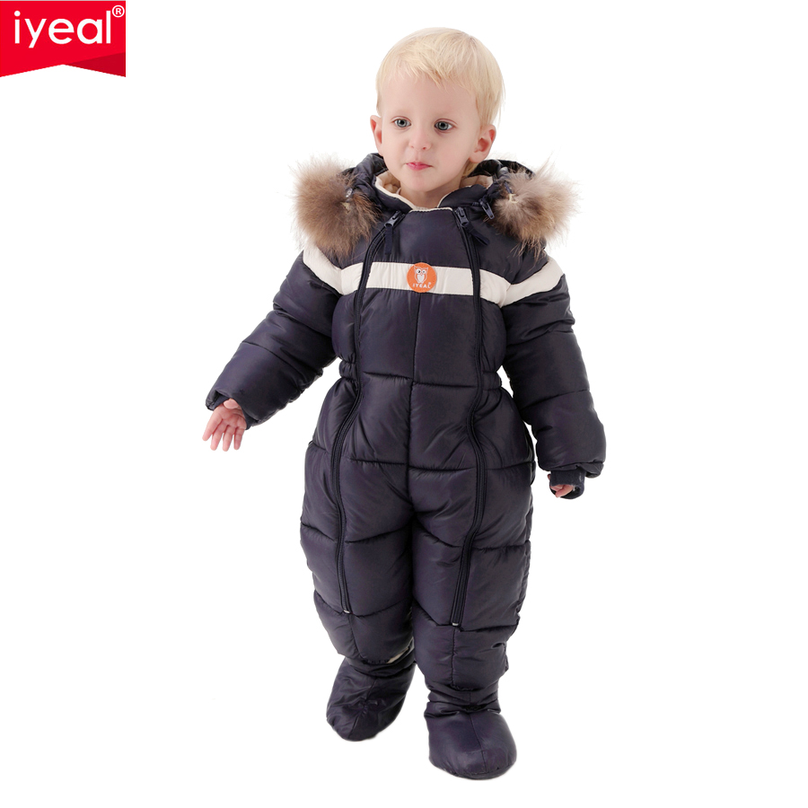 IYEAL For -20 Degree Winter Baby Clothes Rompers  Kids Boys Girls Thick Down Cotton Jumpsuit Toddler Infant Outdoor Snowsuits 6m 3years baby winter overall toddler warm velvet bear hooded rompers infant long pants kids girls boys jumpsuit pink blue