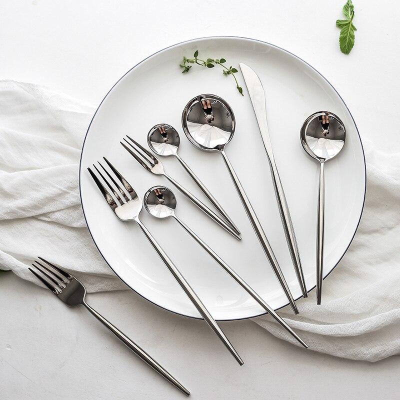 Baby Cartoon Kitten Fork Ice Cream Spoon Tableware Stainless Steel Cutlery Set Z