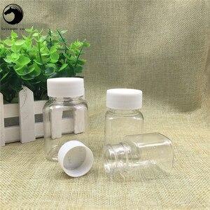 Image 5 - 무료 배송 30 ml 60 ml 80 ml lucency 플라스틱 알약 빈 포장 광장 주최자 병 항아리 새로운 스타일 리필 용기
