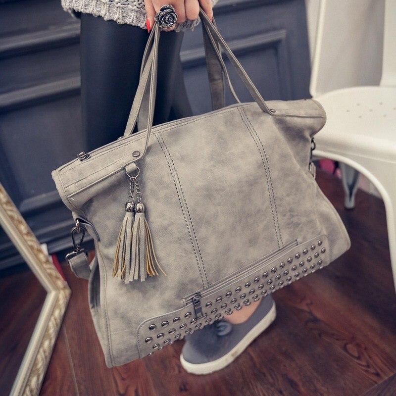 ФОТО 2017 Europe and America women's handbags fashion vintage scrub tassel rivets handbag messenger bag women's casual big bag bolsos