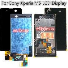Digitalizador de touchscreen para sony xperia m5, montagem de moldura para modelos lcd e5603 e5606 e5653, para sony m5 peças de reposição