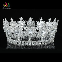 Free Shipping Wholesale Men S Pageant Imperial Tiara Full Circle Round Silver King Crown CT1827