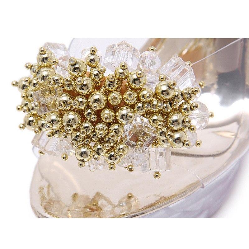 Mujeres Moda Cadena Cristal Verano Diamantes Golden Zapatos Zapatillas 2019 Mujer Del Sandalias Tacón De Alto 2 silvery Ws1742 Transparente Las Imitación Flores AwqxdO50x