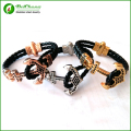 (10pcs)Atolyestone Bracelet  Gold  Stainless Steel Anchor Black Leather Cuff Bracelets & Bangles Men Women  Pulsera