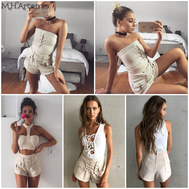 M.H.Artemis Chic Cross lace up shorts Women Sexy Hot Faux Suede Nude color short 2017 new style casual beach pocket shorts S-L