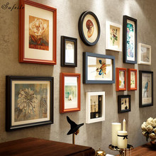 SUFEILE 14pcs/set wood Combination frame European wood combination frame Modern living room decorated with photo wall D30(China)