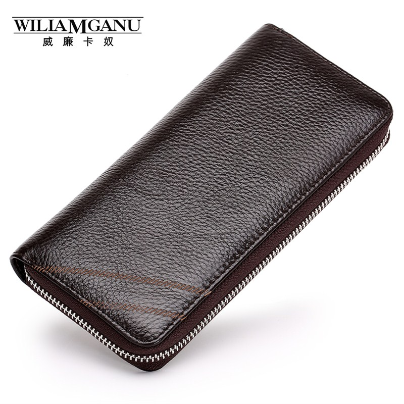 WILIAMGANU Genuine Leather Wallets Credit Card Holder Male Clutch Bags Man Long Coin Purse Business Wallet Brand High Quality 2014 fashion genuine leather men wallets business style long wallet high quality credit coin purse solid soft letter male pouch