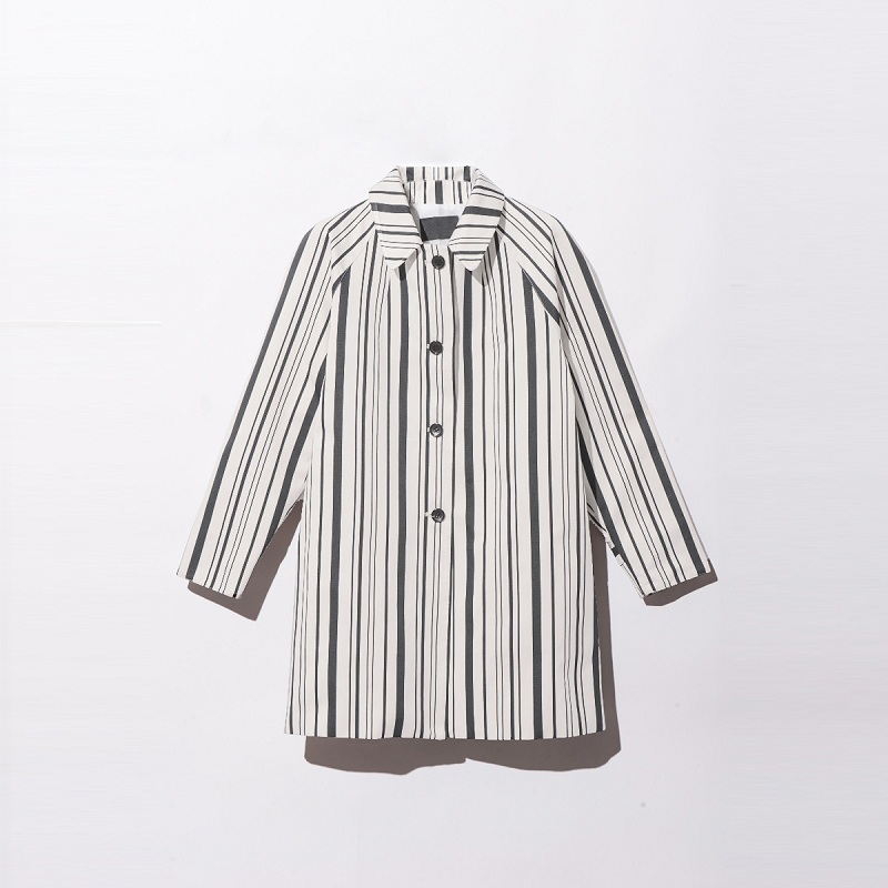 Pinstripe Long   Trench   Coat Woman 2018 Autumn Simple College Style Streetwear Classic Long Sleeve Shirt Coat