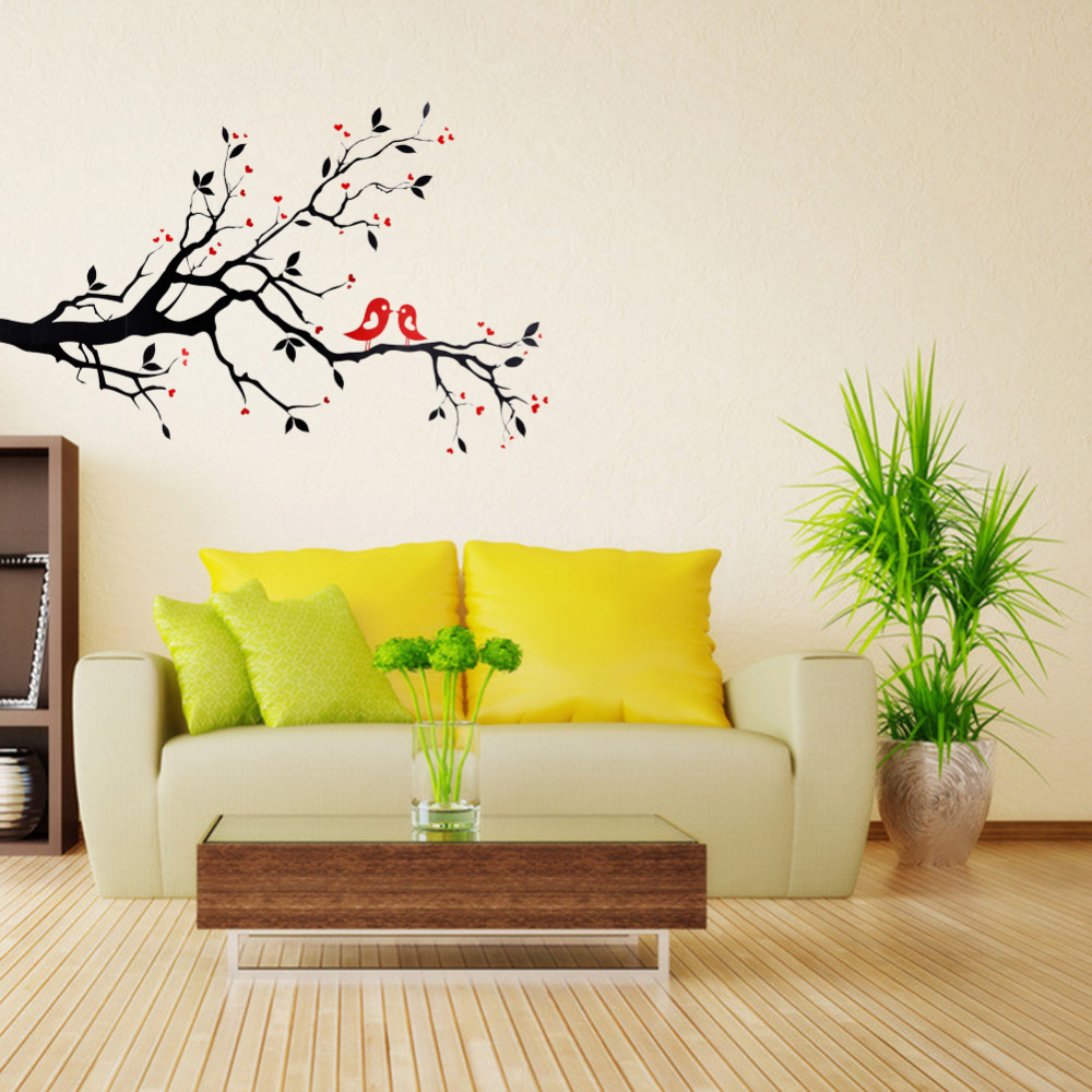 popular office wall design buy cheap office wall design lots from art mural wall sticker home office bedroom decor vinyl wall stickers decal love heart tree bird