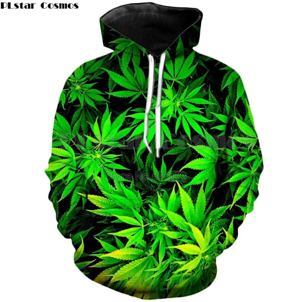 6614d30ba PLstar Cosmos Brand Hoodies green Weeds Print 3d Sweatshirt Men Women Hoody  2018 autumn casual hoodies