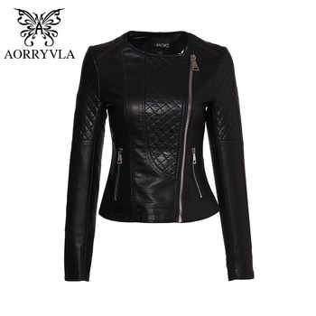 AORRYVLA Brand Faux Leather Jacket For Women Spring 2019 Slim Biker Motorcycle Full Sleeve Zipper Short Length Women's Clothing - DISCOUNT ITEM  49% OFF All Category
