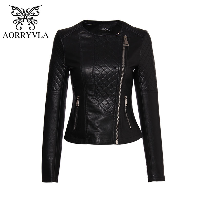 AORRYVLA Brand Faux   Leather   Jacket For Women Spring 2019 Slim Biker Motorcycle Full Sleeve Zipper Short Length Women's Clothing