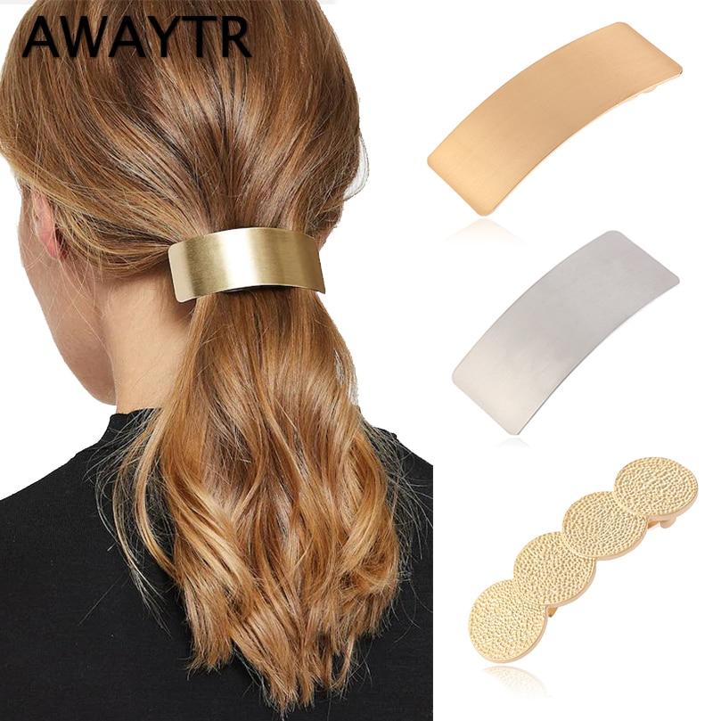 AWAYTR Simple Korean Metal Hair Clips For Women Hairpin   Headwear   Hair Barrette Ponytail Holder Girls Hair Accessories Female
