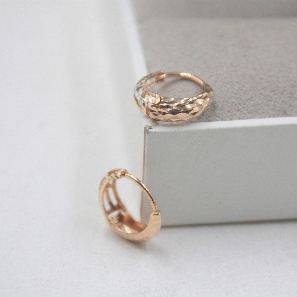 Boucles d'oreilles en or pur 18 K multi-tons personnalisé cadeau sculpté boucles d'oreilles mignonnes 1.5-1.8g bijoux de tous les jours mère meilleur cadeau - 3