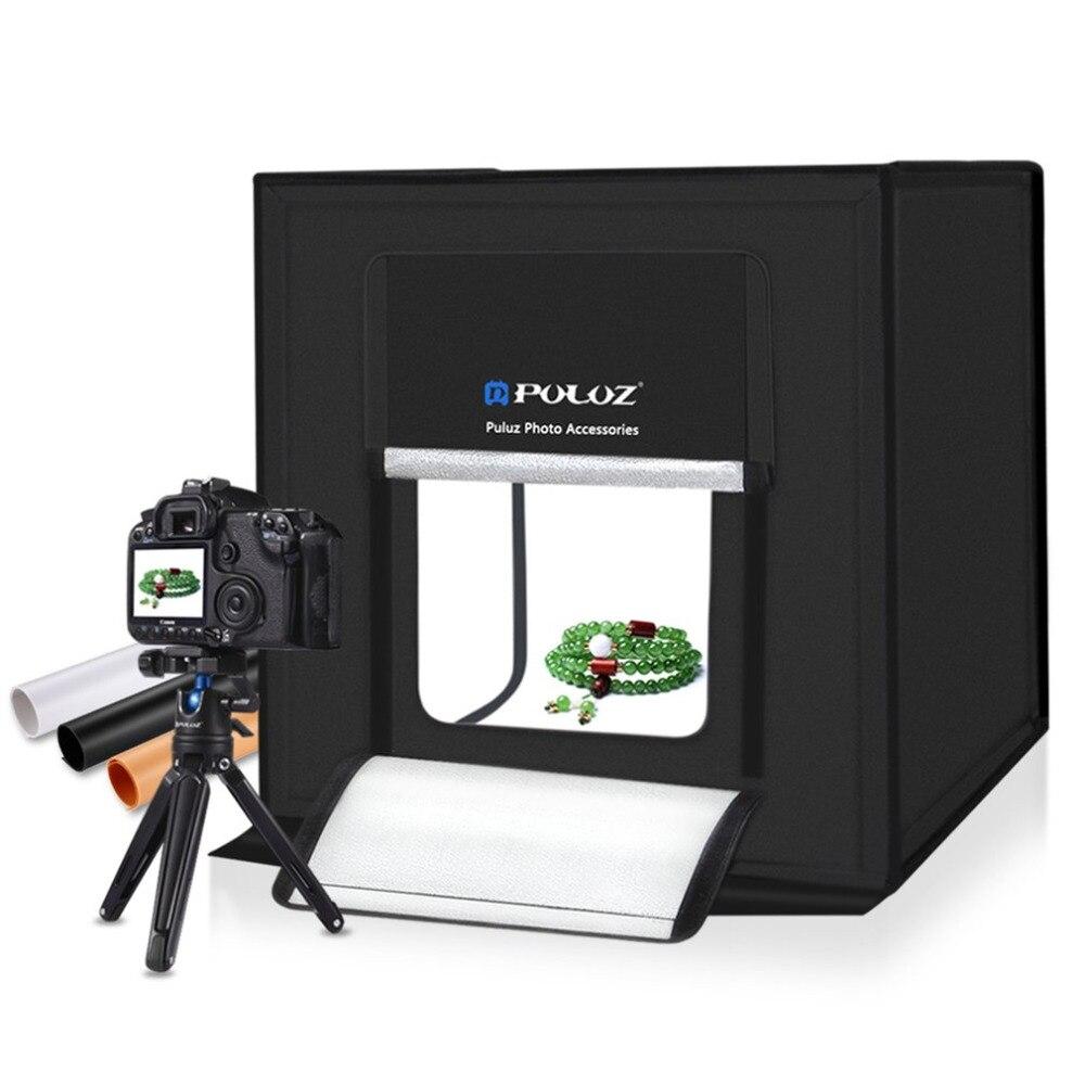 PULUZ 60*60 см световая коробка мини-светодиодная фотостудия Мягкая коробка для фотографии коробки складной софтбокс освещение студия тент для ...