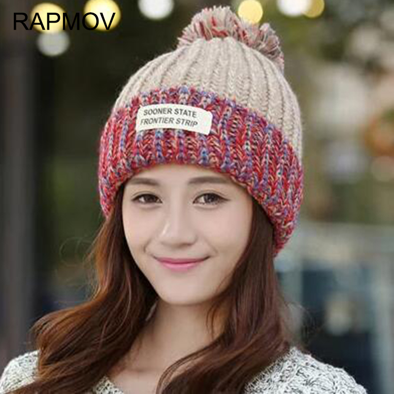 2016 New Fashion Woman's Warm Woolen Winter Hats Knitted Fur Cap For Woman Sooner State Letter Skullies & Beanies 6 Color Gorros hters hiphop fashion letter hats gorros bonnets cocain