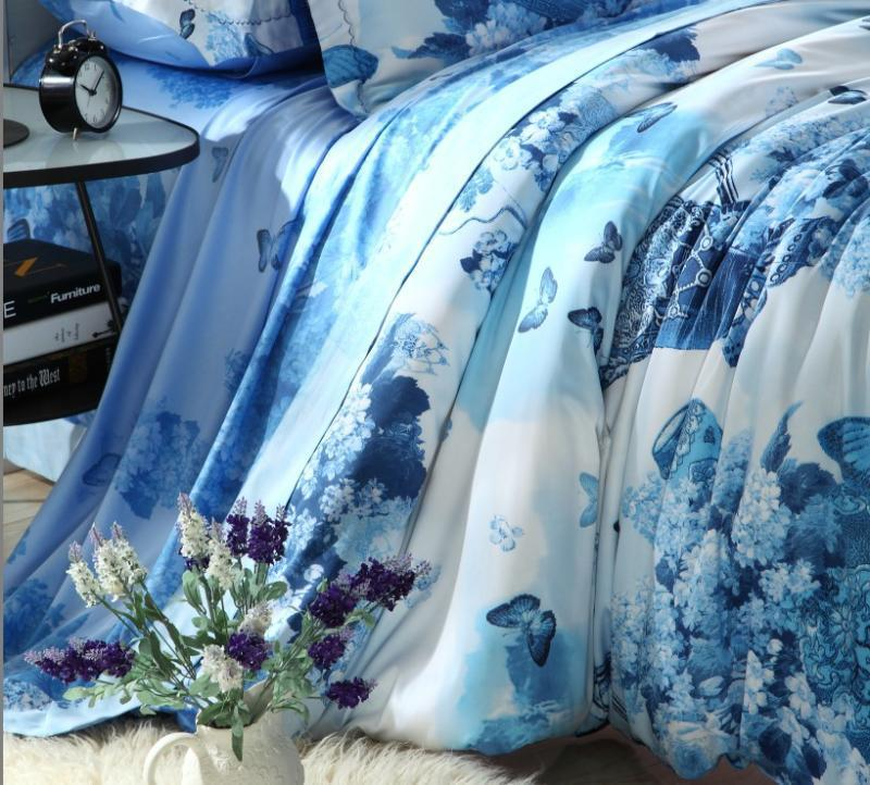 142baffa62eb Blue Egyptian cotton butterfly luxury bedding comforter set king queen size  duvet cover bedspread bed in a bag sheets quilt-in Bedding Sets from Home  ...