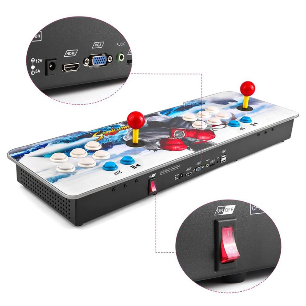 EU plug Usb Game pad Game Arcade Console Arcade Buttons Kit Double Joystick Console Best Gamepad Gift HDMI VGA 999 games in 1 joystick arcade game console retro style mini classic arcade game machine support vga hdmi usb for child gifts