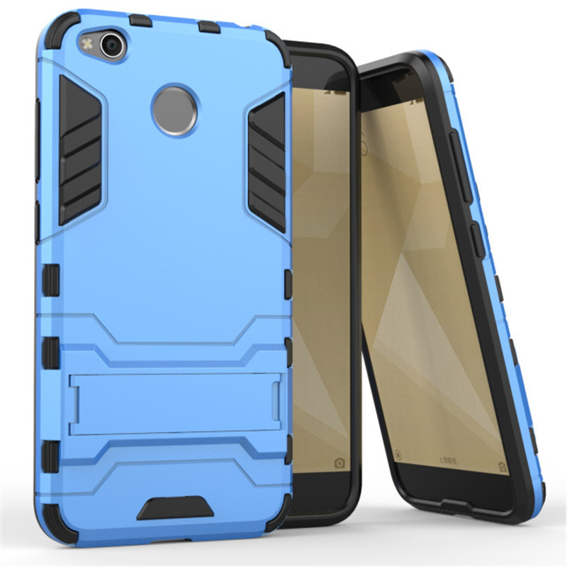 , For Xiaomi Redmi 4X Case Shockproof Robot Armor Capa Hybrid Silicone Rubber Hard Phone Cover For Redmi 4X with Stand Kickstand