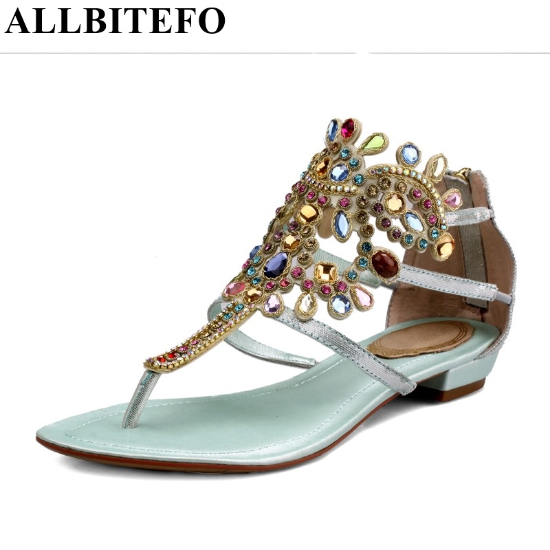ФОТО ALLBITEFO Rhinestone fashion print genuine leather women sandals new summer shoes woman flip flops sexy slides Beach sandals