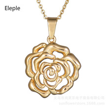Eleple Retro Hollow Rose Stainless Steel Necklaces Women Elegant Flower Short Sweater Chain Fashion Birthday Party Gifts S-N288