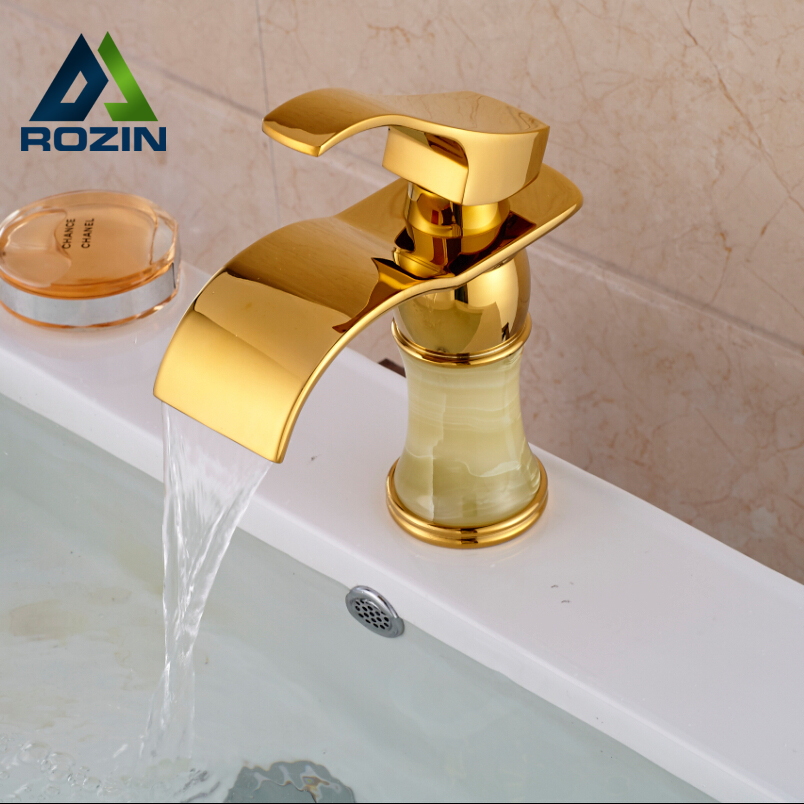 Golden & Marble Waterfall Basin Sink Faucet Deck Mount One Handle Brass Mixer Taps One Hole modern waterfall dual handles bathroom basin faucet deck mount brass golden basin sink mixer taps