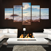5 Panel Blue Seascape with Waves Canvas Painting Modern Beautiful Large Landscape Wall Art Beach and Stone Poster for Home Decor
