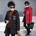 Winter Parkas for Boy 4-13 Year Fashion Zipper Warm Jacket Children Kids Hooded Snowsuit Coat Solid Thick Letter Red Jacket