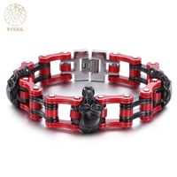 Punk Rock Skull Bicycle Chain Men's Bracelets Bangles Fashion Black&Red Steel Heavy Sports Biker Motorcycle Male Jewelry VB241