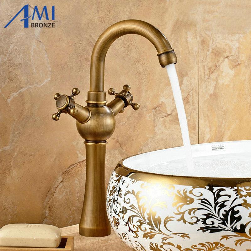 Antique Brass Faucets Bathroom Basin Brass Sink Faucet Crane Mixer Tap 9010A