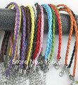 10 Color Weave Leather Bracelets For Women Bracelets Bangle Vintage Silver Beads Lobster Clasp Twist Charms Jewelry 50pcs Z1701