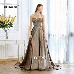 Image 5 - Nova moda 2020 sweetheart a line vestido de noite longo com trem robe de soiree sexy alta fenda glitter ouro baile de formatura vestido de festa