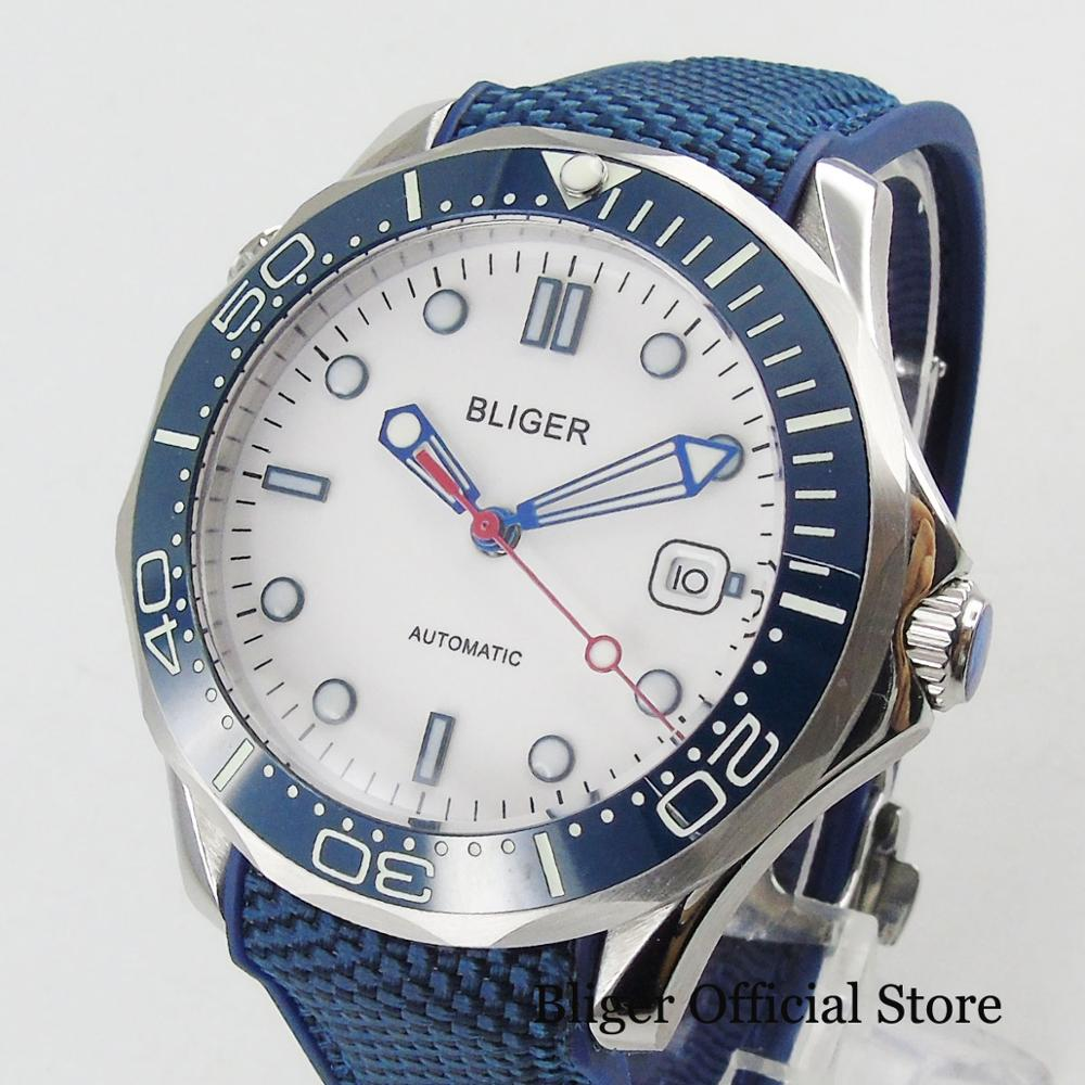 BLIGER 41mm Men's Watch White Dial With Date Window Rubber Strap Pin Clasp Mental Watch Case