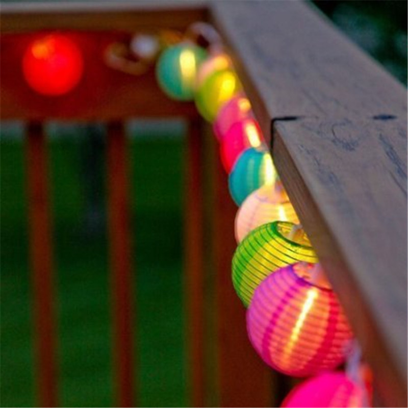 1X Solar Powered Led String Light 4M 10 Colorful Chinese Lanterns Christmas  String Lights For Outdoor