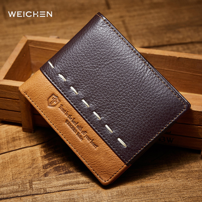 WEICHEN Wallet Men Leather Wallets Male Purse Money Credit Card Holder Genuine Coin Pocket Money Billfold Maschio Clutch vintage bifold wallet men handbags purse coin money bag male leather credit id card holder billfold purse mini wallet hot sale