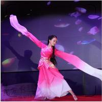 woman pink long sleeves chinese classical dance costume blue water sleeves Girl hanfu princess dress ancient fairy cosplay