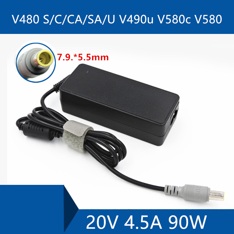 Laptop AC Adapter DC Charger Connector Port Cable For <font><b>Lenovo</b></font> V480 S/C/CA/SA/U V490u V580c <font><b>V580</b></font> 20V 4.5A 90W image
