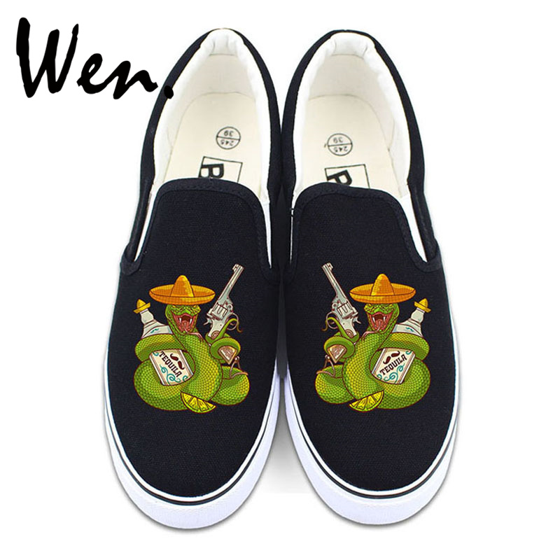 Wen Original Design Revolver Tequila Mexican Snake Slip on Shoes Christmas Presents Gifts Men Women Canvas Sneakers Strapless