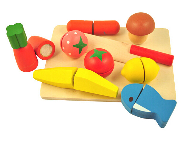 Baby Toys Educational Cutting Fruit and Vegetable Set Wooden Play Food Kitchen Toys Children Play House Gift