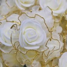 20pcs 4cm שוליים נצנצים משי קצף פרחי DIY בעבודת יד מלאכותי עלה פרח ראשים לחתונה טוטו קישוט ראש פרחים