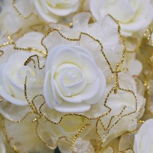 Image 1 - 20pcs 4cm שוליים נצנצים משי קצף פרחי DIY בעבודת יד מלאכותי עלה פרח ראשים לחתונה טוטו קישוט ראש פרחים