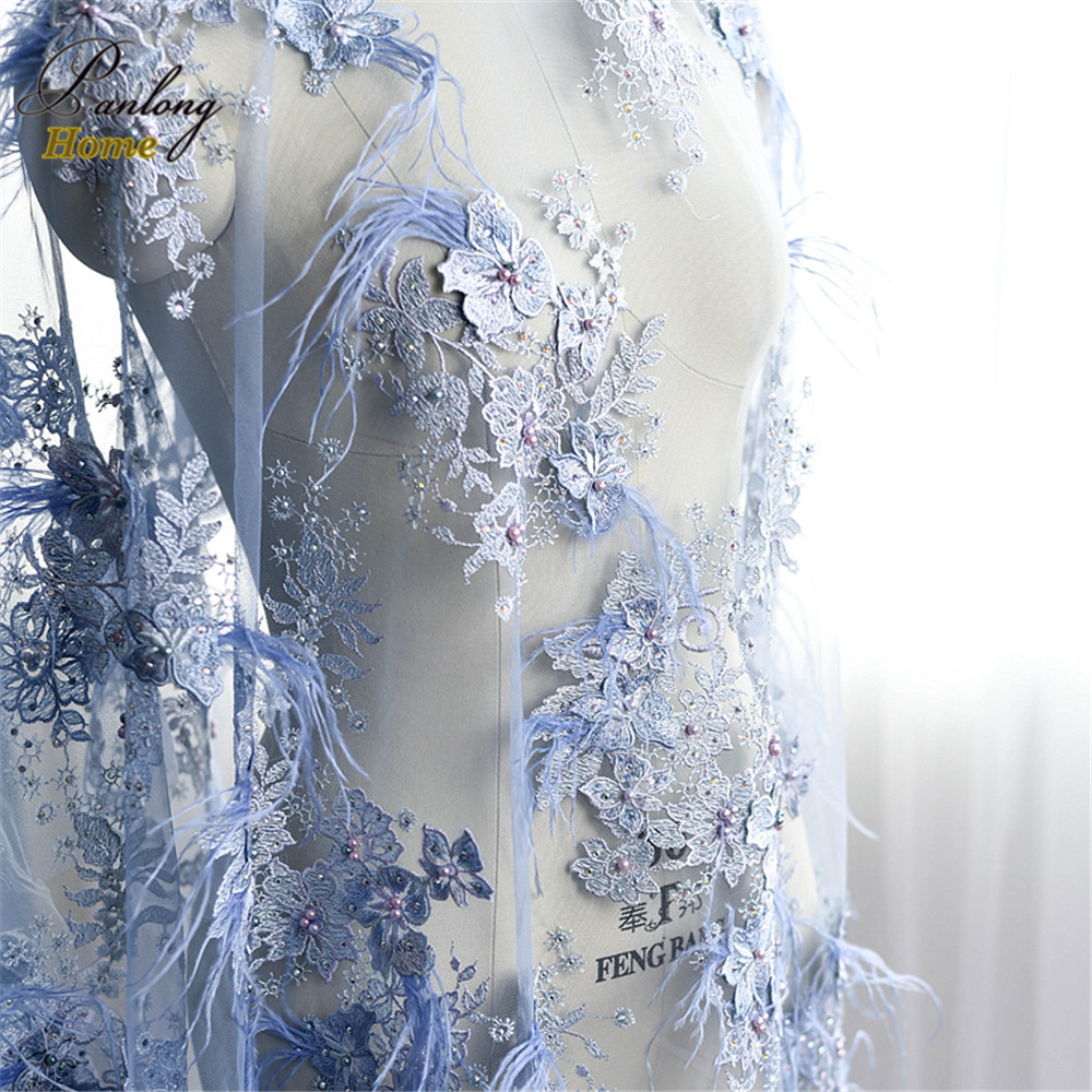 Panlonghome 1*1.3 м водорастворимые сетки с вышивкой бисером 3D Цветы Кружево Ткань Pearl Перья для DIY свадебное платье ткань