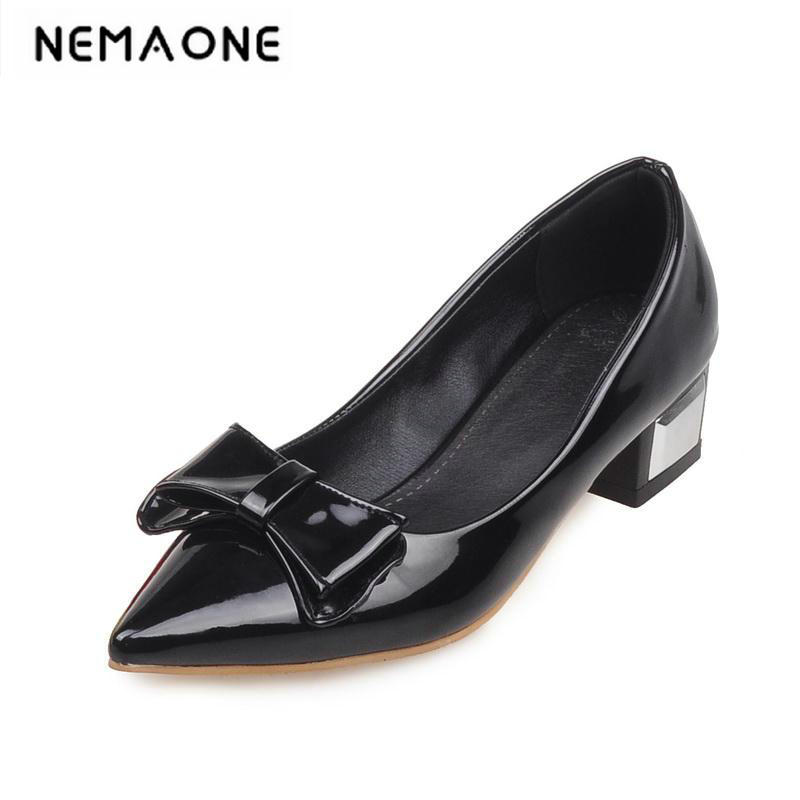 New pointed toe bowtie women patent leather flats sweet women flat shoes fashion low square heel shoes woman new 2017 spring summer women shoes pointed toe high quality brand fashion womens flats ladies plus size 41 sweet flock t179