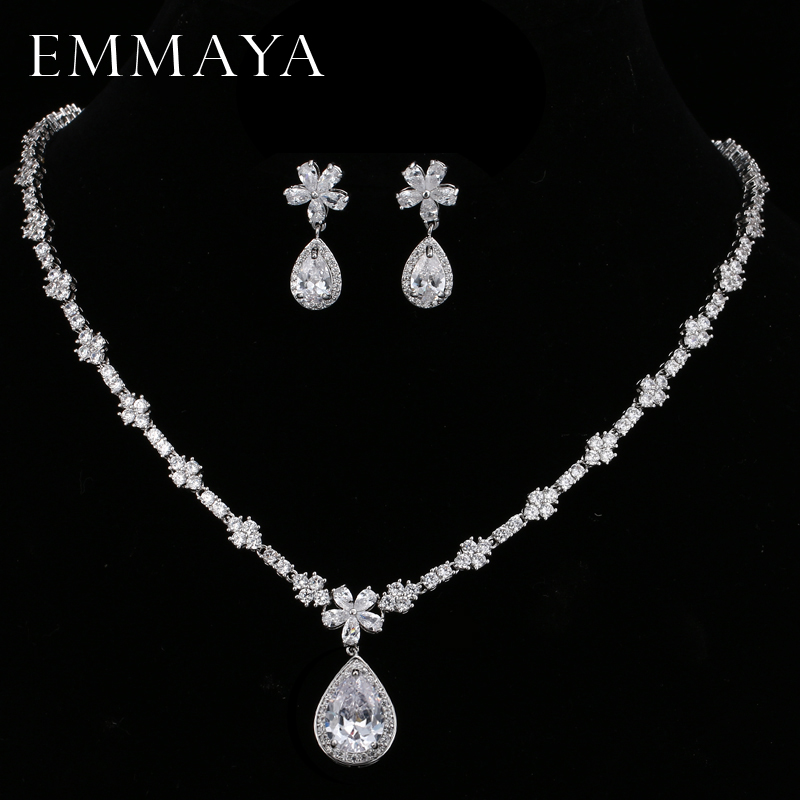 EMMAYA Flowers Shinning White CZ Crystal Pendant Jewelry Sets Gift Fashion Crystal Earrings Necklace Bridal Wedding Sets